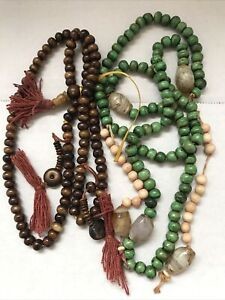 Chinese Antique Bones Buddhist Prayer Necklace 2X With Count Beads