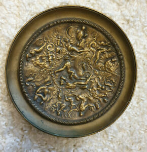 Bronze Teller Relief - griechische Mythologie Poseidon Triton Nymphen Putto