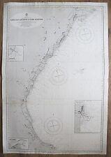 1890 SPAIN CAPE SAN ANTONIO TO CAPE TORTOSA GENUINE VINTAGE ADMIRALTY CHART MAP