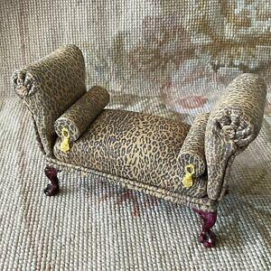 Pat Tyler Dollhouse Miniature Leopard Leather Sofa Couch Lounge Divan 1238