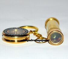 "Antique vintage maritime 2"" brass key chain kaleidoscope with 1"" locket compass"