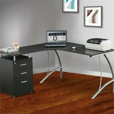 Scranton & Co L-Shaped Corner Desk with File Cabinet in Espresso