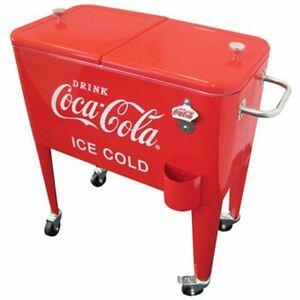 Red Coca Cola Retro Dual Lid 60 Quart Rolling Party Cooler Portable Steel Metal