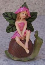 Garden Accent Winged Fairy seated on a Snail NEW