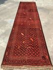 Authentic Hand Knotted Afghan Turkmon Balouch Wool Area Runner 10 x 3 Ft