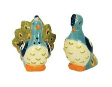 31966 Peacock Salt Pepper Shaker Set Kitchen Cooking Bird Exotic Zoo Collectible