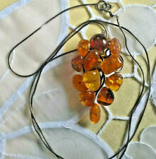 Vintage Amber and silver chain necklace, in shape of grapes