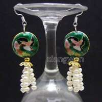 4-5mm Round White Natural Pearl with Dark Green Cloisonne Dangle earring-ear647
