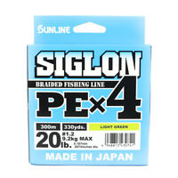 Sunline Siglon Braided Line X4 300M P.E 1.2 20LB Lime Green (0741)