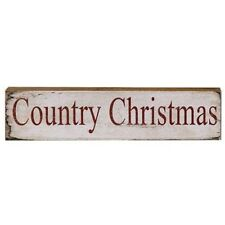 """Primitive Rustic Country """"Country Christmas"""" Distressed Wood Block Word Sign"""