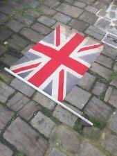 "WW1 Antique Vintage Union Jack Flag On Wooden Pole 42"" X 31"""