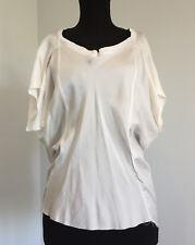 Asymmetrical White Raw Hem Silk T Shirt by Burfitt XS