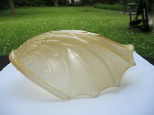 #3 - ART DECO 1910-20 LIGHT AMBER GLASS SLIP SHADE SPREAD WING BIRD OR ANGEL