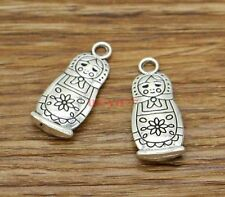 10 Russian Doll Charms Pendant Matryoshka Charms Antique Silver Tone 12x27 2595