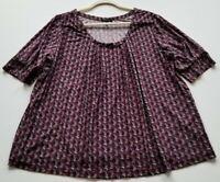 Daisy Fuentes Women's Short Sleeve Blouse Top 2X Plus Multicolor Geometric Scoop