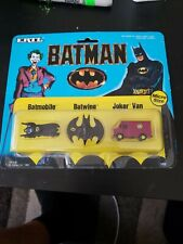 Ertl Vintage (1989) Batman Mini Size Set; Batmobile, Batwing, & Joker Van.