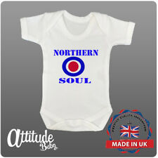 Plain White Baby Grow-Printed-Northern Soul-Mod Baby Clothes-Baby Vest-Baby Grow