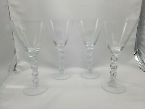 NEW Set of 4 Pier 1 Goblets Cocktail Wine Glasses With Bubble Stems
