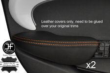 Puntadas de hilo naranja 2X Fundas de puerta trasera de reposabrazos cuero adapta BMW Mini Cooper 14-17 F55