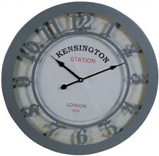 Kensington Station Grey Metal Round Wall Clock with Numbers and Glass Front