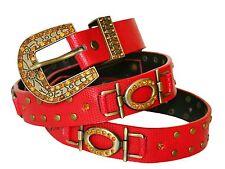 Cinturón De Mujer Piel Sintética Rojo con remaches color Oro Y Estrás Naranja