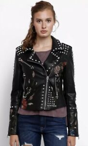 Blank NYC Leather Look Floral Embroidered Moto Hacket, New, Sz Med