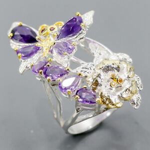 Handmade Set Jewelry Amethyst Ring Silver 925 Sterling  Size 7.5 /R152144