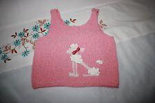 débardeur top été fille 2 ans rose chien caniche tricote fait main
