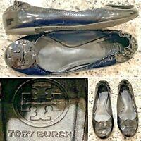 "TORY BURCH ""Reva"" Black Patent Leather Ballet Flat Shoe Womens Size 8"