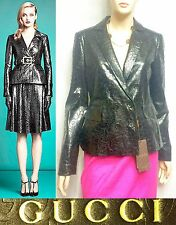 $3,450 Gucci 8 44 Crushed Leather Blazer Jacket Peplum Coat Women Gift NEW ITALY