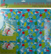 Set Of 4 Plastic Dinner Table Place Mats And Coasters - Flamingo Design