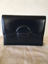Authentic Hermes Navy Blue Box Calf Faco Clutch
