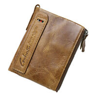 Blocking Genuine Leather Bifold Wallet With Zipper Pocket for Men's