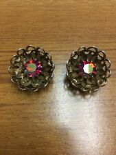 Antique Floral Carnival Glass Stud Gold Clip On Earrings