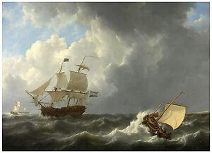 "Maritime ""Ships on a Stormy Sea"" Johannes Christiaan Schotel ca. 1826"