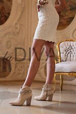 TOSCA BLU ~ Leder Stiefeletten 41 beige goldene Nieten Wildleder Cowboy Boots