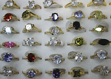 Wholesale Mixed Lots 50pcs Cubic Zirconia Women Gold Plated Charm Rings