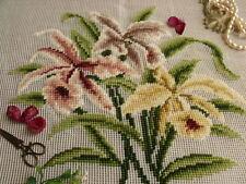 "23"" vtg PREWORKED Needlepoint Canvas -* Elegant Orchid * Burgundy,Yellow Flowers"