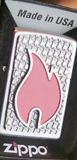 ZIPPO  Big Red Flame Emblem  PLATTE CHROM Neu TOP...