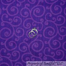 BonEful Fabric FQ Cotton Quilt Purple Girl Dress Twirl Scroll Dot Holiday Retro