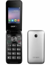 New Condition Alcatel 2051X Silver Flip Big Button Seniors Unlocked Mobile Phone