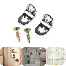 2pcs Glass Panel Shelf Clamp Holder Bracket Support Clip With Screws BE