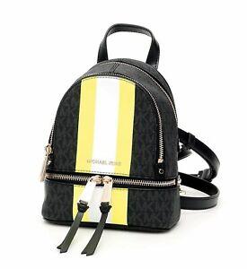 Michael Kors Backpack Bag Rhea XS Backpack Schwarz Neon Yellow New