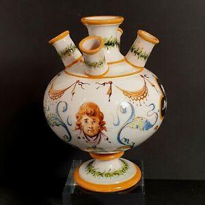 Antique Majolica GINORI Italian Pottery Tulip Vase Cherub Renaissance-Revival