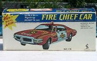 Taiyo Rusher Fire Chief Car Bump'n Go NON-FALL Mystery Pressed Steel Tin