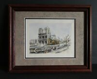 Art Print Colored Etching Notre Dame Cathedral, Signed Paris 🇫🇷 Framed VTG 50s