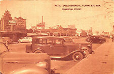 Tijuana B. C. Mexico Street View Store Fronts Early Postcard