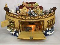 "Vtg 15"" Lighted Noahs Ark Collectible Polyresin Decoration Religious w Box"