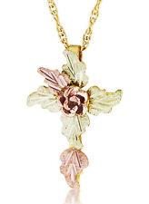 MT Rushmore 10k Black Hills Gold Cross Pendant With Rose