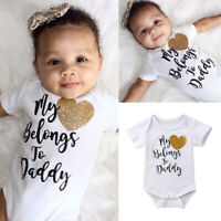 US Newborn Baby Girl Short Sleeve Cotton Romper Bodysuit Jumpsuit Outfit Clothes